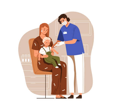 Nurse with syringe vaccinating child, accompanied by mother, with anti-virus vaccine injection in hospital. Vaccination for children. Colored flat vector illustration isolated on white background Stock Illustratie