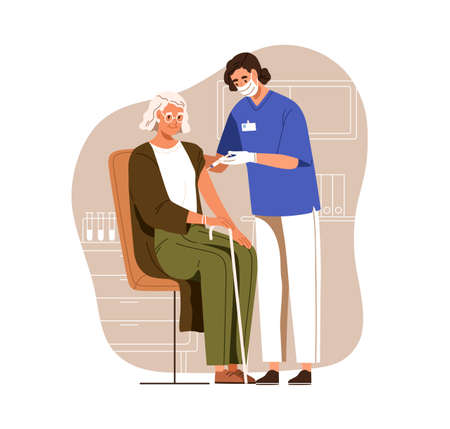 Nurse with syringe vaccinating aged person with anti-virus vaccine injection in hospital. Vaccination of senior woman. Colored flat vector illustration of elderly patient isolated on white background