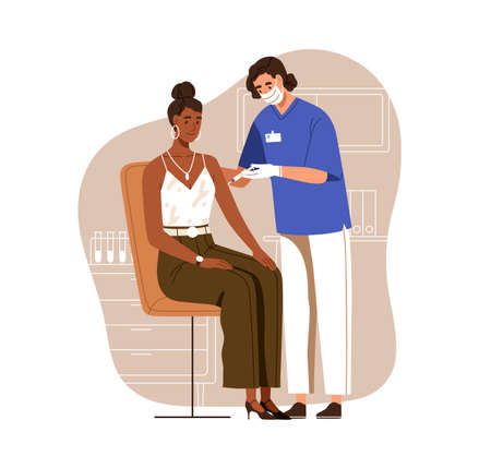Nurse vaccinating black-skinned woman with   vaccine injection. Adult patient vaccination for protection from viruses. Colored flat vector illustration isolated on white background
