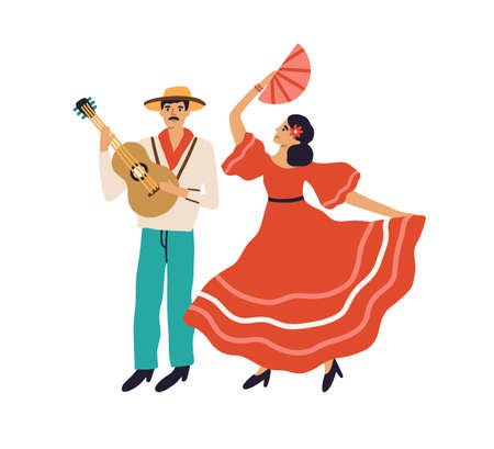 Spanish couple of man playing guitar and woman dancing flamenco in red dress. Hispanic guitarist and passionate female dancer. Colored flat graphic vector illustration isolated on white background Stock Illustratie