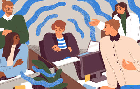 People conflicting with toxic selfish coworker. Concept of unhealthy environment, teamwork problems and bad relationships in office. Colored flat vector illustration of colleagues argument