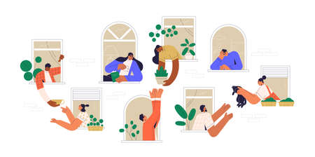 Neighbors sharing things and helping each other through open windows of house. Concept of good neighborhood, peoples unity, mutual aid and support. Colored flat vector illustration isolated on white
