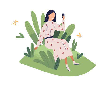 Happy client enjoying good usable interface and friendly positive environment of mobile app. User care and support concept. Colored flat vector illustration isolated on white background