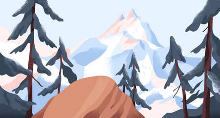 Panoramic view from cliff on mountain peak covered with snow. Calm nature landscape with forest and snowy mount. Peaceful winter scenery of highlands. Colored flat vector illustration