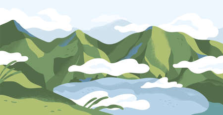 Panoramic view of summer landscape with lake in mountains. Calm nature panorama of highlands in green grass and clouds. Colored flat vector illustration of peaceful valley scenery Stock Illustratie