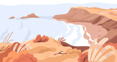 Panoramic view of nature landscape with sea bay and empty beach in fall. Calm autumn seascape panorama with yellow foliage. Colored flat vector illustration of peaceful seaside scenery
