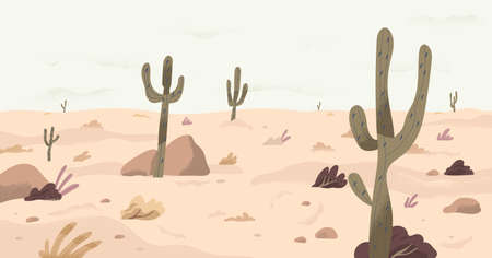 Panorama of calm plain desert land with cactuses on dry sand. Panoramic view of south nature landscape with southern plants in drought weather. Flat vector illustration of wilderness scenery Stock Illustratie