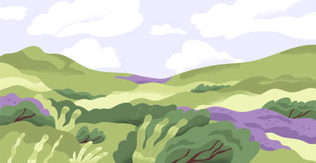 Panoramic view of summer nature landscape with grass, hills and flowers in good weather. Scenic panorama of green meadow and sky horizon with clouds. Flat vector illustration of rural scene
