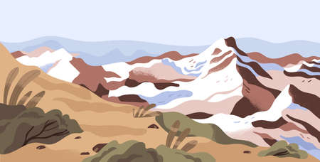 Panoramic view of calm nature landscape with snowy mountain tops and sky horizon. Peaceful scenic panorama with hills and bushes. Winter turns to spring concept. Colored flat vector illustration Stock Illustratie