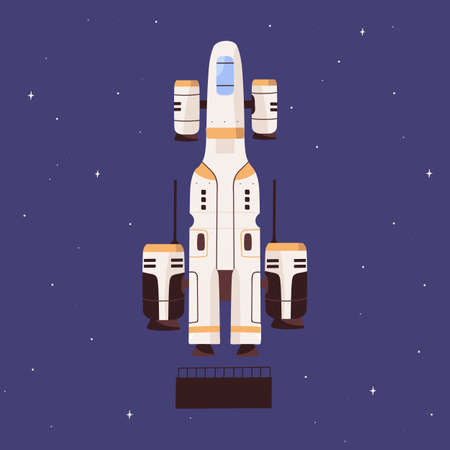 Futuristic spaceship flying in outer space. Intergalactic spacecraft on sky and stars background. Spaceflight of cosmic shuttle. Colored flat vector illustration of universe traveling