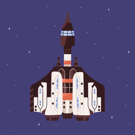 Top view of spaceship flying in outer space. Futuristic spacecraft on starry sky background. Cosmos flight of intergalactic shuttle. Colored flat vector illustration of cosmic transport Stock Illustratie