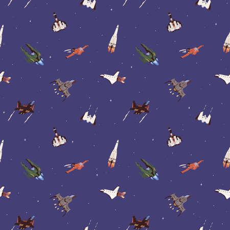 Seamless cosmic pattern with spaceships and rockets in outer space. Endless sky background with spacecraft and futuristic shuttles. Colored flat cartoon vector illustration of printable texture Stock Illustratie
