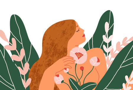 Happy peaceful blooming woman with blossomed flowers around. Concept of female beauty and health, self-care, acceptance and love. Colored flat graphic vector illustration isolated on white background