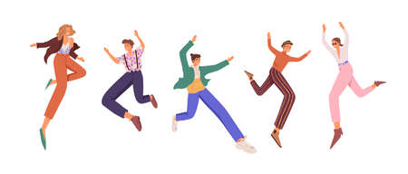 Happy young people jumping up for fun and joy. Set of active cheerful smiling men and women with feeling of freedom. Colored flat vector illustration of joyful characters isolated on white background
