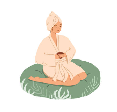Relaxed young woman resting with tea in Spa and Wellness center. Female character in gown and bath towel sitting in beauty salon. Colored flat vector illustration isolated on white background