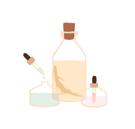 Glass bottles with natural cosmetic oils. Pipette with droplet of organic cosmetics for body care. Herbal extracts in transparent containers. Flat vector illustration isolated on white background