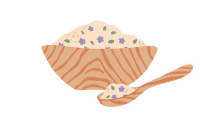 Wooden spoon and bowl full of organic pink sea salt with leaves and flowers for aromatherapy, spa and wellness treatment. Flat vector illustration of homemade cosmetics isolated on white background Stock Illustratie