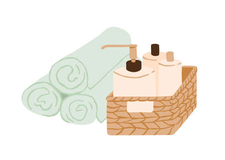 Wicker basket of beauty cosmetic products and pile of rolled towels isolated on white background. Straw box with bottles of cosmetics for skincare and body treatment. Colored flat vector illustration Stock Illustratie