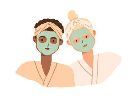 Portrait of two women with clay facial masks on their faces. Spa skin care treatment of girlfriends in bathrobe and headbands. Colored flat vector illustration isolated on white background