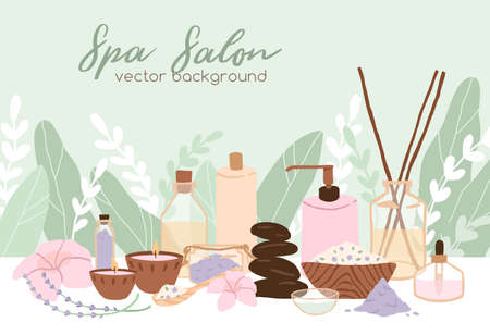 Spa, wellness and beauty salon background. Promotion template design with flowers, leaves, cosmetic bottles and packagings. Flat vector illustration of banner with organic cosmetics and plants