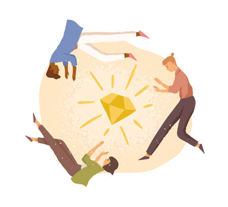 Team of people working on project together to achieve common goal. Staff around diamond. Concept of teamwork, cooperation and creation. Colored flat vector illustration isolated on white background Stock Illustratie