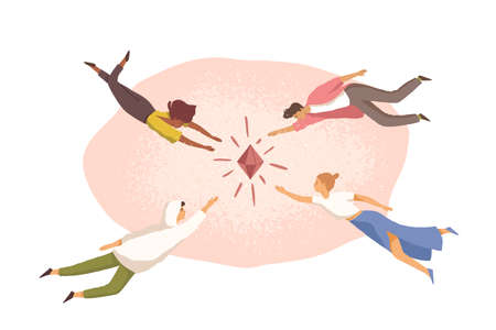 People aspiring and trying to achieve common goal, reach target and catch their fortune. Concept of aim aspiration. Flat vector illustration of characters striving for diamond isolated on white Stock Illustratie