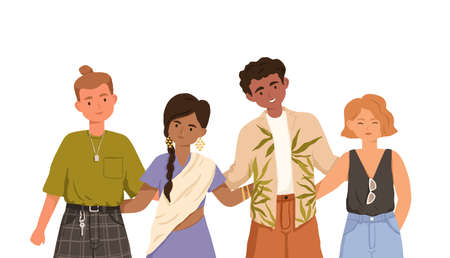 Group of happy young people of different races standing and hugging together. Portrait of multiracial friends. Colored flat vector illustration of diverse multiethnic teenagers isolated on white Stock Illustratie