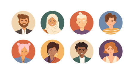 Set of diverse young people avatars with happy faces in circles isolated on white background. Person portrait for user account and profile. Colored flat vector illustration of man and womans icons