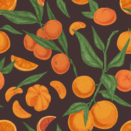 Seamless citrus pattern with clementines or tangerines, leaves and branches of mandarin tree on dark background. Hand-drawn texture with fresh fruits in vintage style. Colored vector illustration