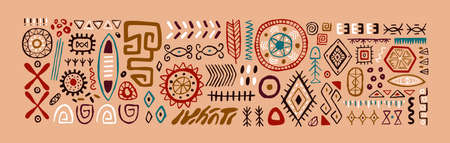 Set of abstract African tribal geometric shapes, ancient ethnic traditional symbols and ornate signs. Hand-drawn oriental elements in doodle style. Isolated colored flat vector illustrations