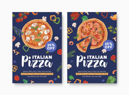 Templates of ad flyers with realistic pizzas for pizzeria, Italian food restaurant or cafe. Design of vertical promo banners for printing. Colored hand-drawn vector illustration for promotion Stock Illustratie