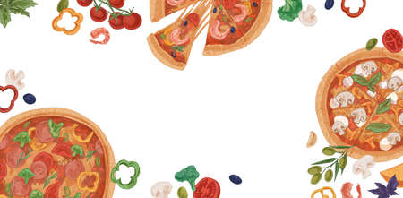 Ad banner for pizzeria with realistic pizza slices, ingredients and place for text on white background. Promotion template for Italian food restaurant or cafe. Colored hand-drawn vector illustration Stock Illustratie