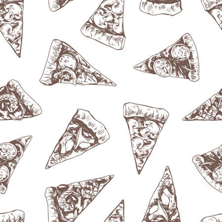 Seamless pattern with different Italian pizza slices on white background. Hand-drawn endless texture design in retro style. Repeating backdrop for pizzeria. Outlined vector illustration for wrapping Stock Illustratie