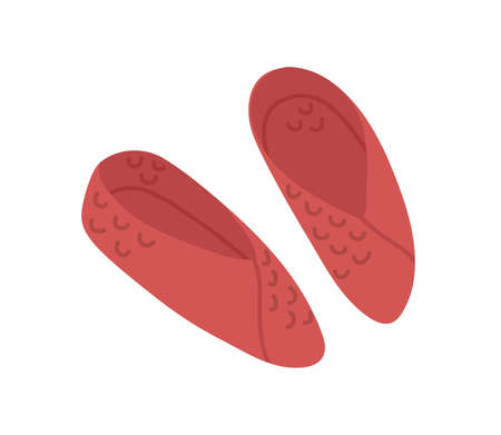 Pair of closed knitted winter slippers isolated on white background. Cozy home wool shoes. Woolen comfy footwear. Colored flat vector illustration of trendy warm soft footgear Ilustrace