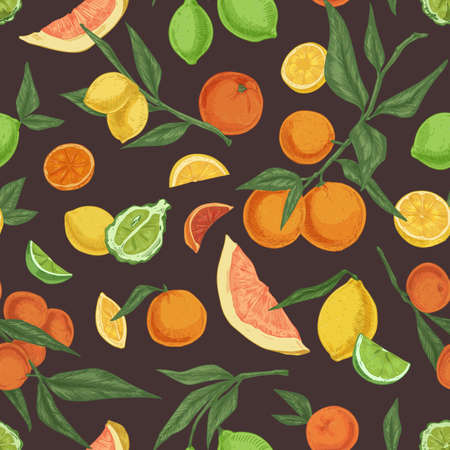 Seamless fruity pattern with different citrus fruits on black background. Endless repeatable texture with realistic oranges, lemons and limes. Hand-drawn colored vector illustration for printing Ilustrace