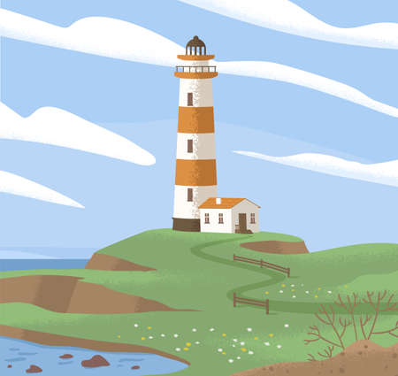 Landscape with lighthouse tower on sea coast. Light house or beacon on seashore. Coastal nautical building. concept of peace, loneliness and solitude. Colored flat graphic vector illustration Ilustrace