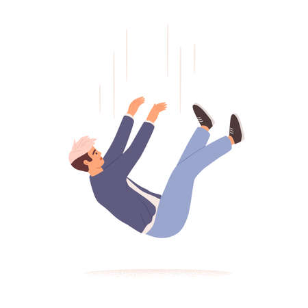 Person falling down from above. Fall of young man. Failure, fiasco, life crisis, tragedy, sudden problems and difficulties concept. Colored flat vector illustration isolated on white background Ilustrace