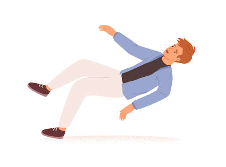 Person falling down. Fall or failure of young man isolated on white background. Psychological concept of life crisis, difficulties, troubles and problems. Colored flat vector illustration