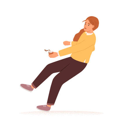 Scared person with coffee cup stumbling and falling down. Accident fall of frightened woman. Concept of failure or fear. Colored flat vector illustration isolated on white background