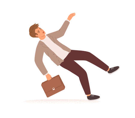 Businessman stumbling and falling down. Fall of young man with briefcase. Career failure, fiasco, crisis, problem and trouble concept. Colored flat vector illustration isolated on white background Ilustrace