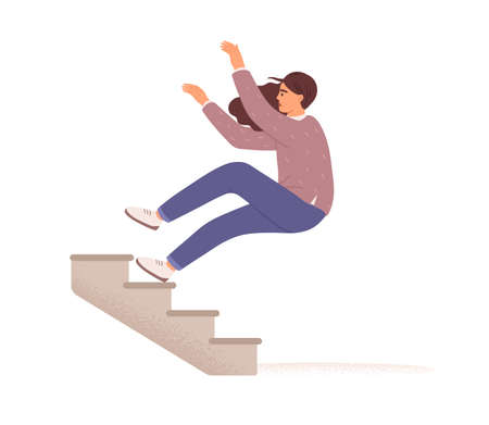 Employee falling down from career ladder. Fall of woman from stairs. Failure, fiasco, problem, trouble and mistake concept. Colored flat vector illustration isolated on white background