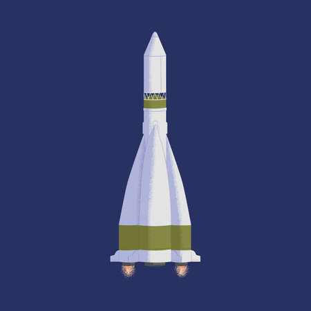 Intergalactic rocket in outer space with engine fire flames. Spaceship flying in cosmos. Flight of cosmic shuttle or rocketship. Colored flat textured vector illustration of interstellar
