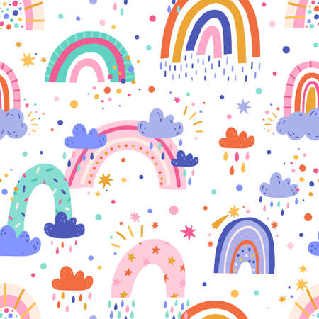 Seamless pattern with cute bright rainbows and rain clouds on white background. Endless repeatable childish texture in doodle style. Colored flat vector illustration of backdrop design for printing