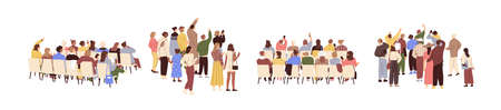 Rear view of academic auditorium, fan audience, people s crowd. Set of spectators backs. Backside of characters sitting and standing. Colored flat graphic vector illustration isolated on white