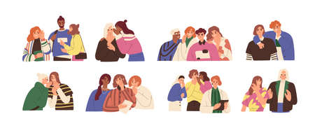Happy and unhappy people gossiping, whispering in ear, slandering, spreading secrets, rumors, confidential information and news. Colored flat graphic vector illustration isolated on white background Ilustrace