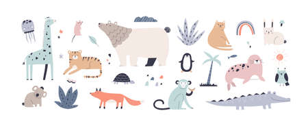 Cute jungle animals in Scandinavian style. Childrens set of funny alligator, nordic bear, fox, giraffe, koala, monkey, penguin, seal, tiger and cat. Colored flat vector illustration isolated on white Ilustrace