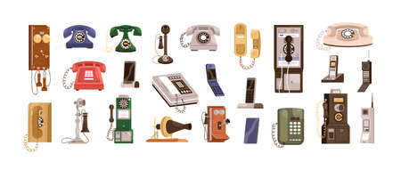 Vintage telephones and modern mobile phones set. Old antique analog devices for communication. Desktop rotary, radiophone and cellphone. Colored flat vector illustration isolated on white background