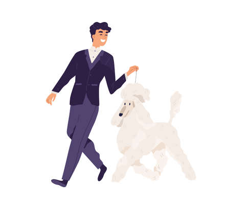 Happy smiling man in elegant formal suit walking with dog. Pet owner leading his Royal Poodle on leash. Person and purebred doggy. Colored flat vector illustration isolated on white background