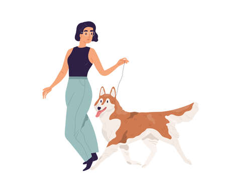 Happy young woman walking with dog. Pet owner leading her Akita-Inu doggy on leash. Female character and purebred Alaskan Malamute. Colored flat vector illustration isolated on white background