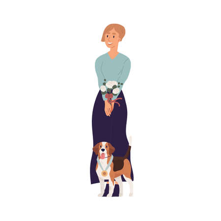 Portrait of young happy woman and cute dog standing together with golden medal as winner of doggy championship. Pet owner and beagle puppy. Colored flat graphic vector illustration isolated on white